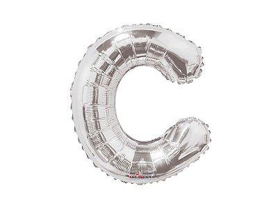 Balão metalizado 22 cm - Prateada - Letra C