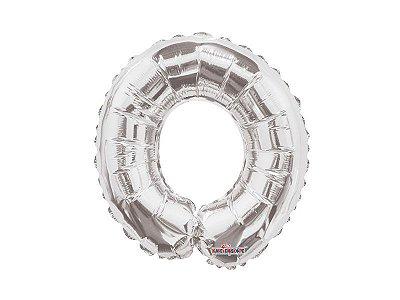 Balão Metalizado 25 cm - PRATEADO - Letra O
