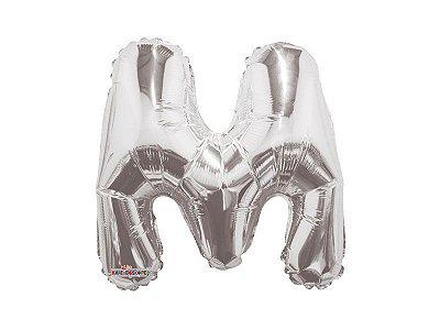 Balão Metalizado 33 cm - Prateado- Letra M