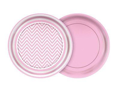 Prato de Papel- Festa Colors - Chevron rosa bebê - 08 unidades