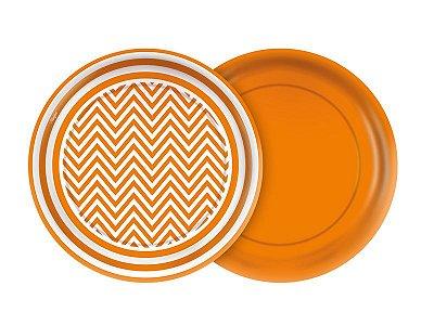 Prato de Papel- Festa Colors - Chevron laranja - 08 unidades