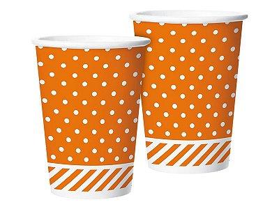Copo de Papel 180ml - Festa Colors laranja - 08 unidades
