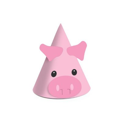 Chapéu de Aniversário - fazendinha - Porquinho - 08 unidades