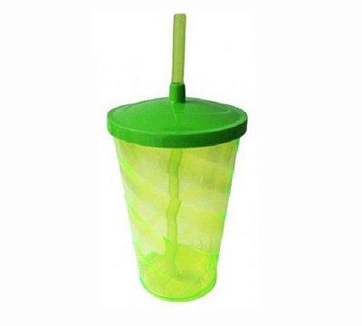 Copo Twister 400 ml - Verde fluor - Com tampa e canudo