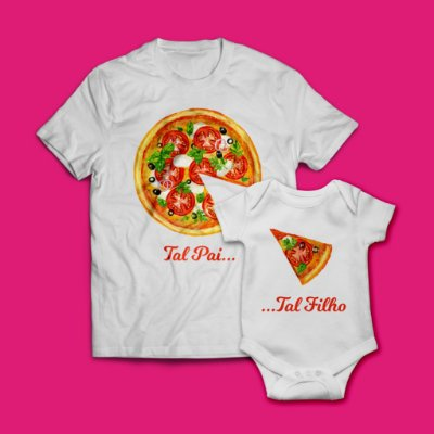 "Kit Camisa + Body  ""Papa Baby Pizza"""