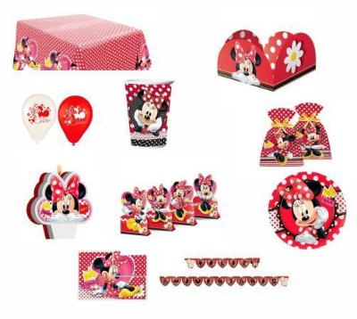 Kit Festa Minnie Vermelha - 24 pessoas