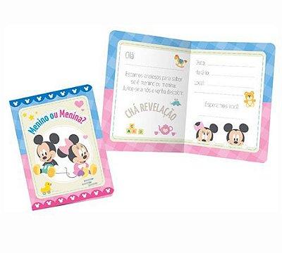 Convite Chá Revelação Baby Disney - 08 unidades