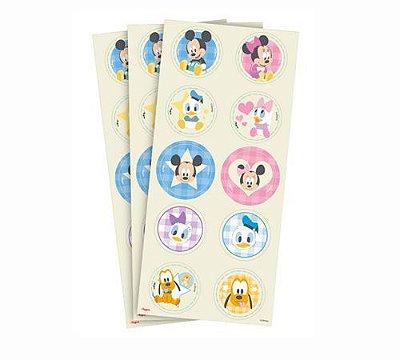 Adesivo Redondo Baby Disney Chá Revelação - 30 Unidades