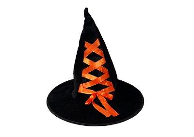 Chapéu de Bruxa Veludo com Fita - Laranja
