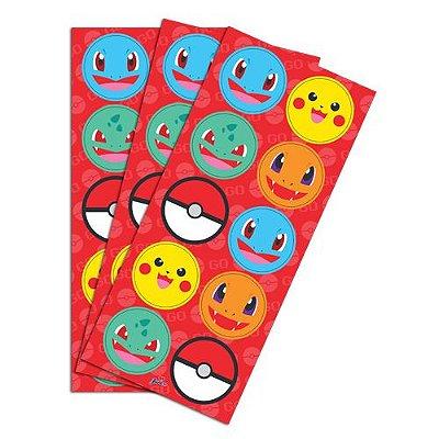Adesivo Decorativo Redondo Pocket Monsters - 30 unidades