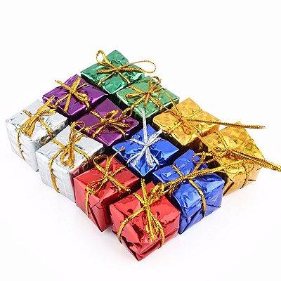 Enfeite De Natal colorido - Mini caixa de Presente