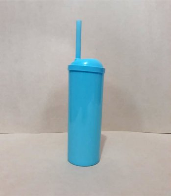 Copo Long Drink c/ Canudo - Azul  300ML