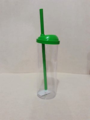 Copo Long Drink c/ Canudo 300ML - Verde Transparente