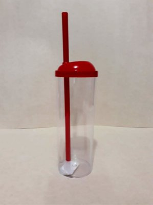 Copo Long Drink c/ Canudo 300ML - Vermelho Transparente