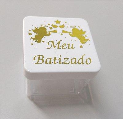 Caixa 5x5 - Meu batizado Branco e dourado - 10 und