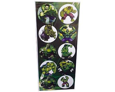 Adesivos Redondo Hulk - Cartela com 30