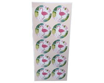 Adesivos Redondo Flamingo - Cartela com 30