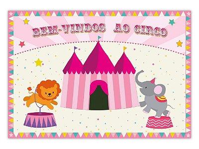 Painel 4 Folhas - Circo Rosa