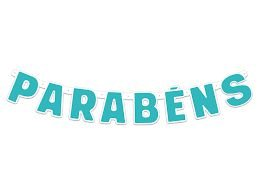Faixa Parabéns - Festa Colors - Azul Àgua