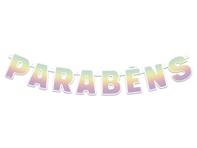 Faixa Parabéns- Festa Colors - Ombré Arco-Iris