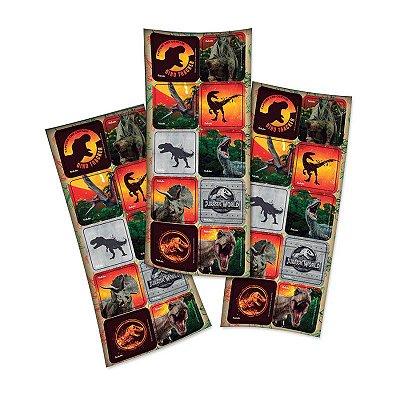Adesivo Quadrado Jurassic World - 30 unidades