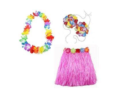 Fantasia Carnaval Feminina- Havaiana - Rosa