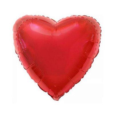 Balão Metalizado  - Coração Vermelho 45cm