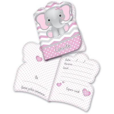 Convite de Aniversário Elefantinho Rosa