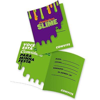 Convite de Aniversário -Festa Slime - 08 unidades