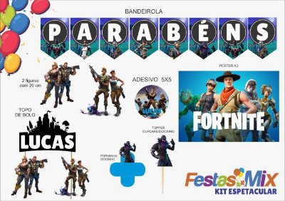 Kit Espetacular Personalizado - Fortinite