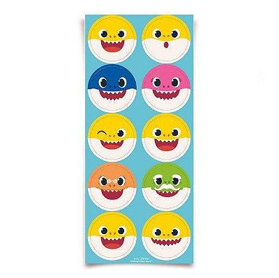 Adesivo Redondo - Baby Shark - 30 unidades
