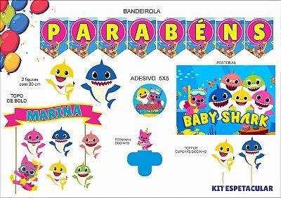 Kit espetacular - Baby Shark - 7 itens