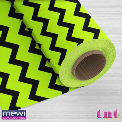 TNT Estampado - Chevron Preto F/ Verde Fluorescente - 05 Metros