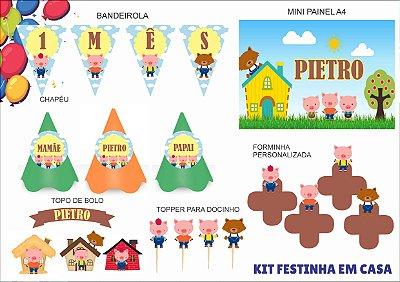 Kit Festinha em casa - Mensário - Três Porquinhos - 6 itens