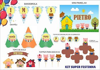 Kit Super Festinha - Mensário - Três Porquinhos - 7 itens
