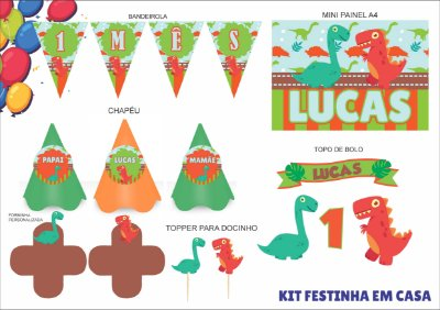 Kit Festinha em casa - Mensário - Dinossauro - 6 itens