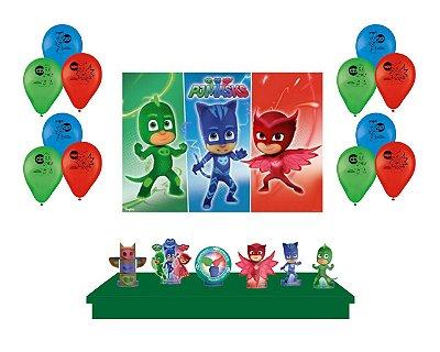 Kit Festa do PJ Mask Painel + Balões + Decoração de Mesa