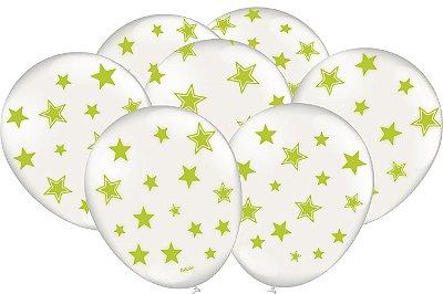 Balão Latéx - Neon Branco com Verde - 25 Unidades