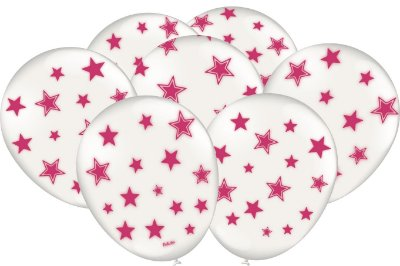 Balão Latéx - Neon Branco com Rosa - 25 Unidades