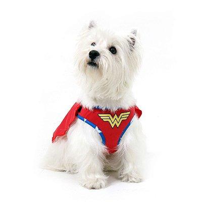Peitoral com Guia Para Cachorro  Mulher Maravilha -  GG