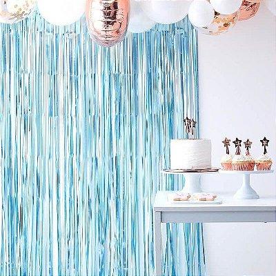 Cortina Metalizada para Festa - Azul Claro