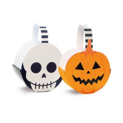 Cachepô Cesta Abóbora e Caveira Halloween com 4 unidades
