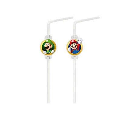 Canudo Incolor -  Aplique 20 Unidades - Super Mario Bros