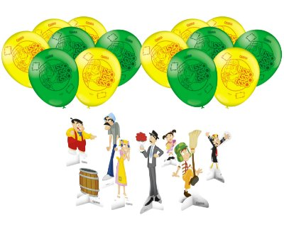Kit Decoração Festa - Chaves - 25 Balões + 8 Display De Mesa