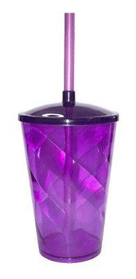 Copo Twister 400 ml - Roxo - Com tampa e canudo