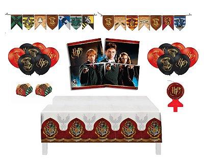 Kit Decoração - Festa Harry Potter -  Painel Toalha Faixa Balão Forminha Vela