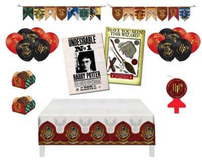 Kit Decoração - Festa Harry Potter - Balões Painel Toalha Forminhas Vela Faixa