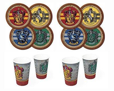 Kit Decoração Festa - Harry Potter  -16 Copos + 16 Pratos