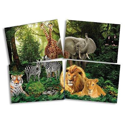 Painel Gigante 4 Partes - Mundo Animal