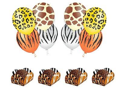 Kit Decoração Festa - Mundo Animal -  25 Balões + 40 Forminhas Doces